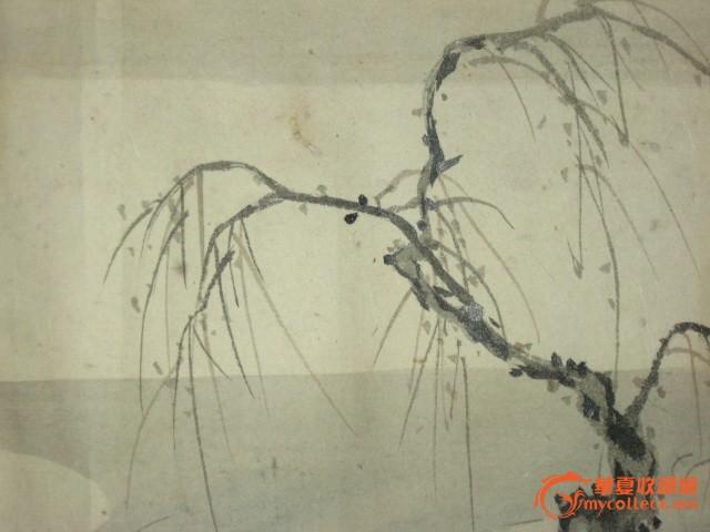 民国日本狩野派著名画家狩野永达手绘风景画原作《飞