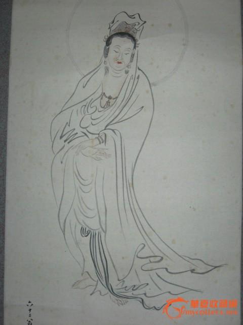 民国画家东厓手绘人物画原作《白衣观音像图》挂轴