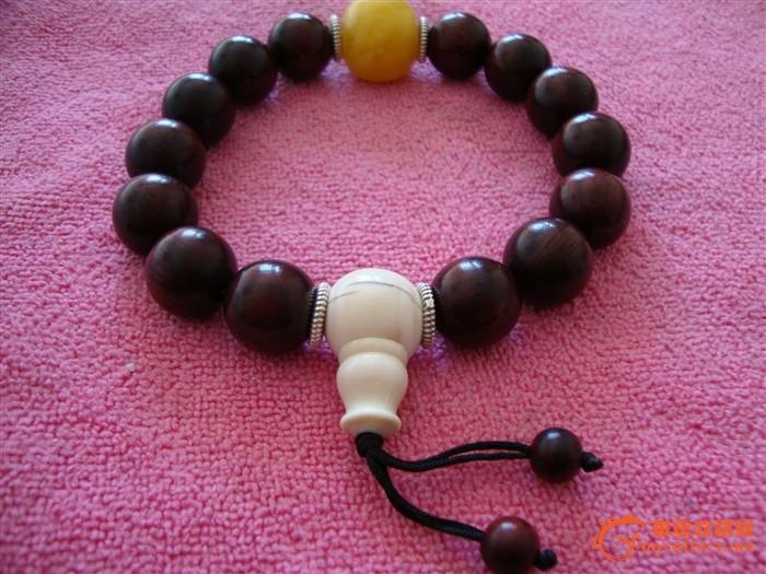 印度小叶紫檀高配佛珠手串