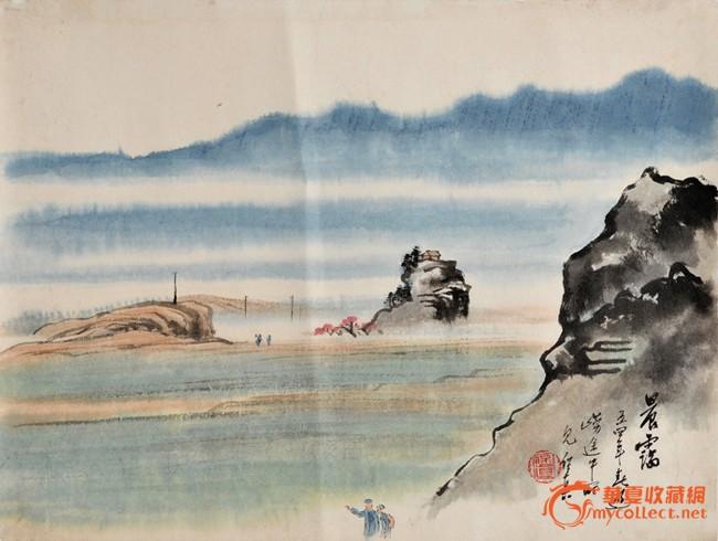青岛崂山风景水墨画