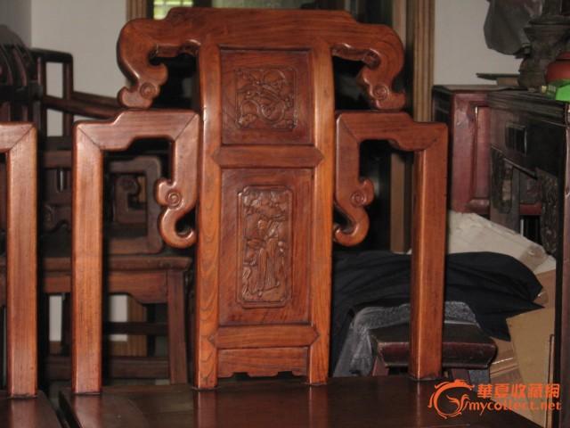 清晚期红榉木雕八仙人物靠背椅