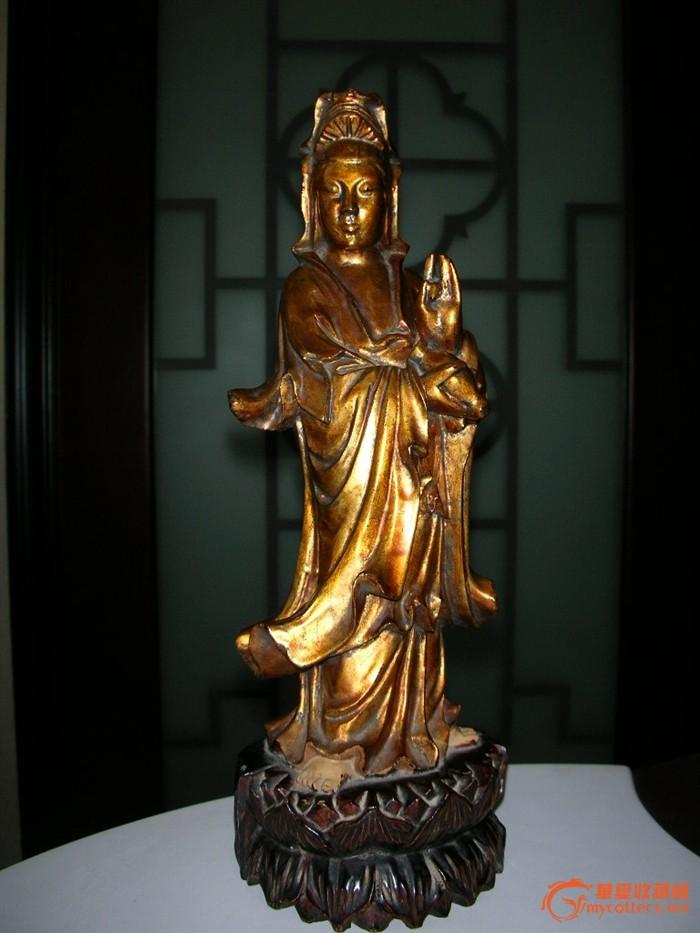 清代 漆金木雕观音像