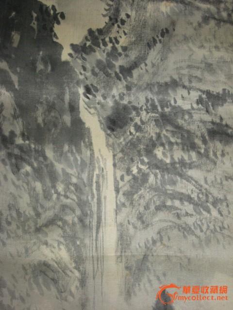 民国初年画家祥云居士手绘原作《山林飞涧图》绢本挂轴-图3