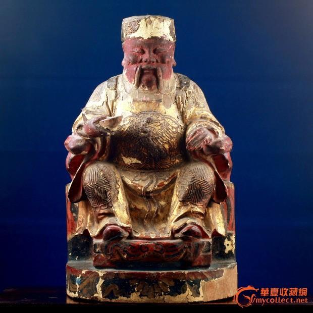 明代木雕造像 土地爷神像
