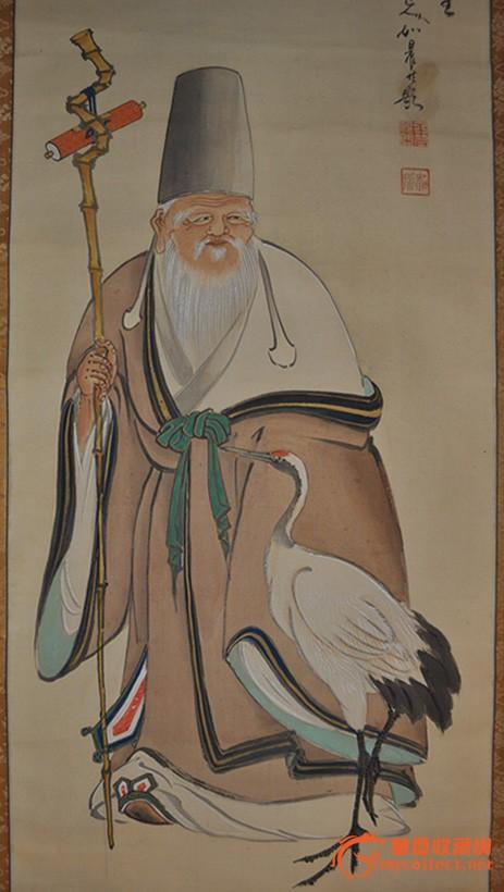 昭和期日本画家如晨手绘人物画《福禄寿之図》立轴 原装桐木盒