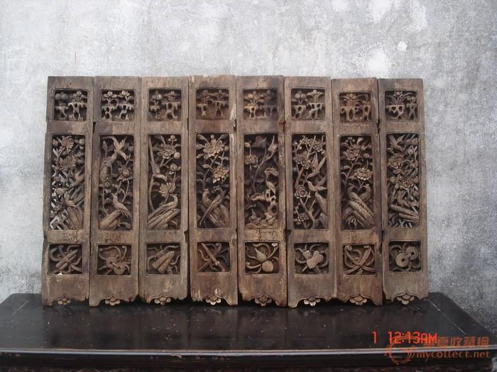 潮州木雕:民国樟木群仙乐屏风7块