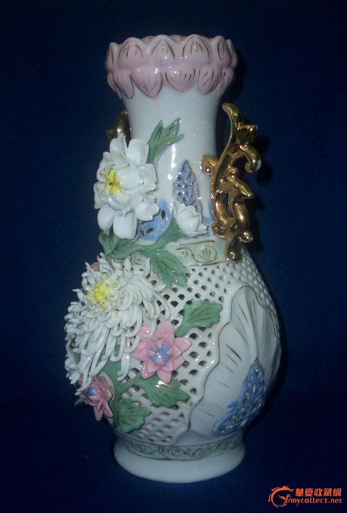 地摊 陶瓷 其它 80年代出口描金双凤耳镂空捏塑黏贴花莲花口瓶(完美