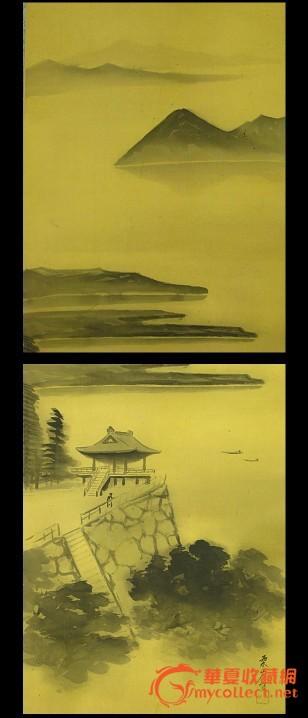 民国画家泉山手绘风景画原作《山水楼阁图》绢本挂轴