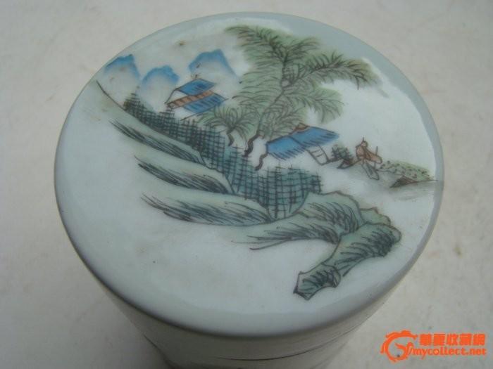 民国茶叶瓶 青山绿水