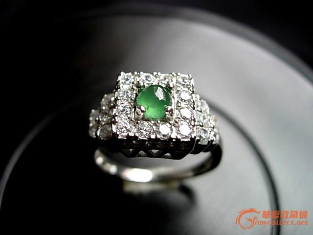 老坑玻璃种晴绿翡翠奢华群镶满钻戒指赠送证书