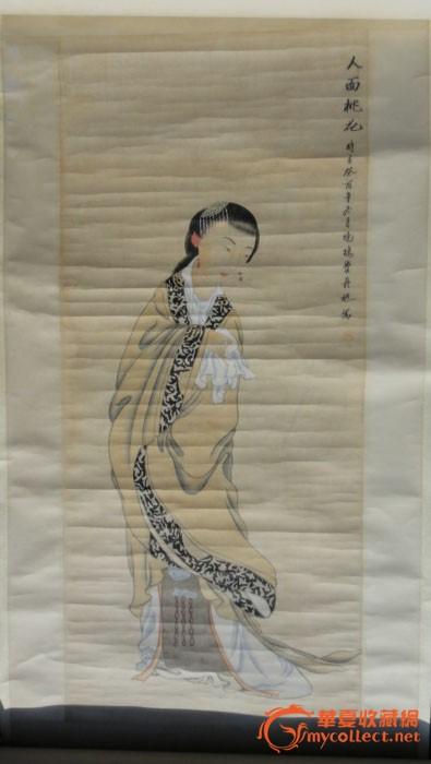 费丹旭的一幅国色图《人面桃花》-费丹旭的一温江美女天乡+蹦极图片