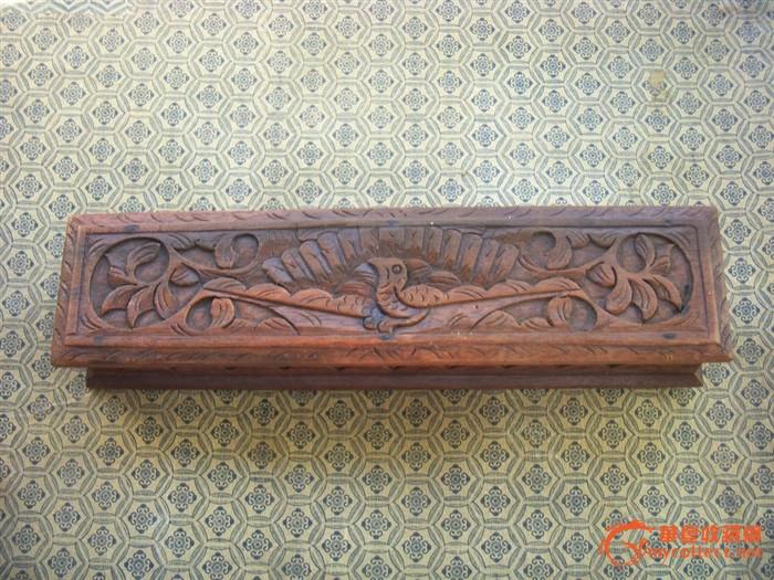 民国雕花鸟木首饰盒
