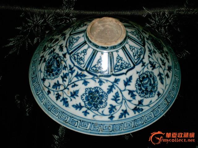青花白釉牡丹缠枝花纹碗