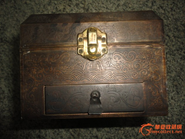 民国木包铜首饰梳妆盒