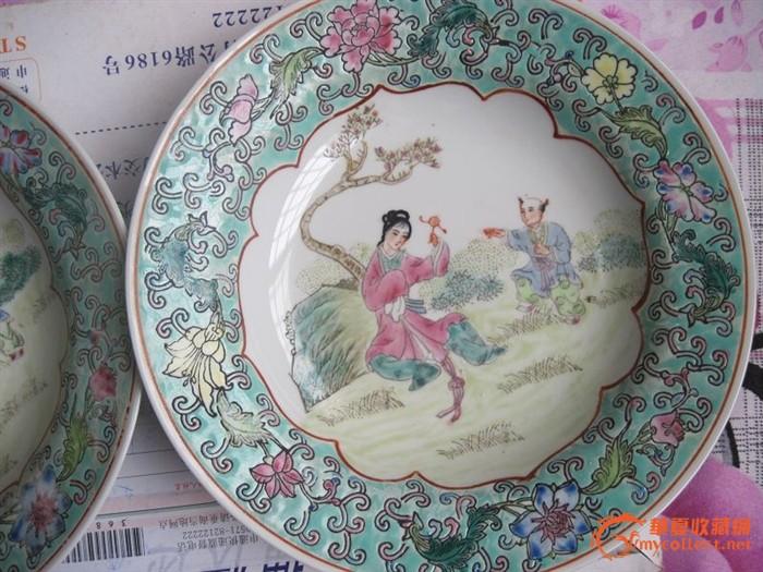 景德镇出口瓷,手绘粉彩人物盘