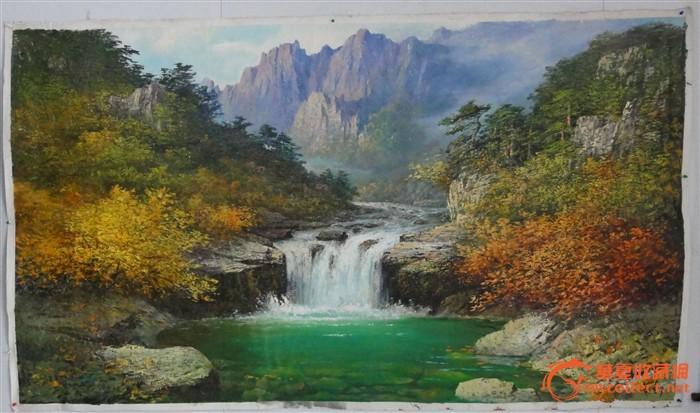 形式: 大幅 质地: 好 交易品介绍    风景画山水:209*120cm,朝鲜功勋