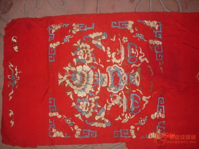清潮州刺绣:红布花瓶博古五幅