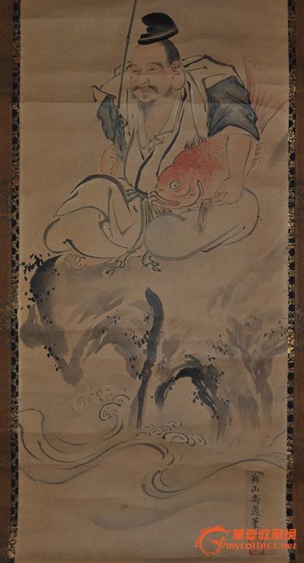 民国日本画家 彩山尚道 手绘淡彩人物画《蛭子之图》原作立轴