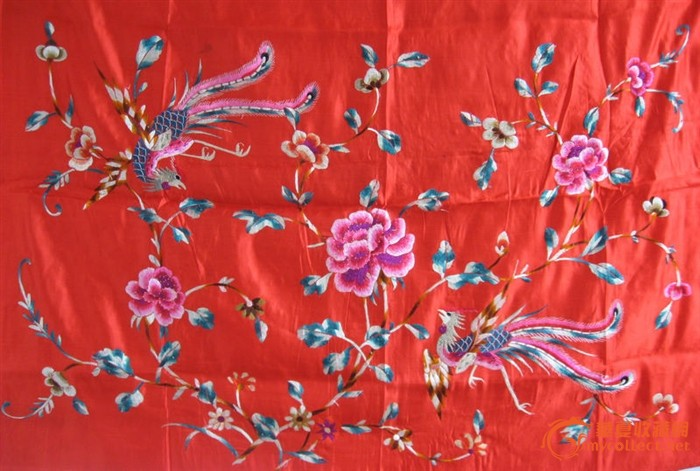 红底牡丹仙鹤图刺绣