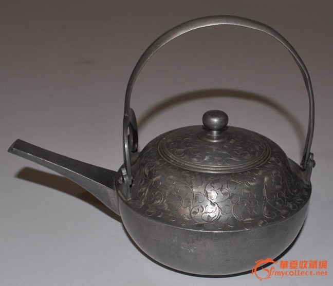 清代日本煎茶具,雕花纹样老锡壶一对/茶器/茶道/古玩/铁壶/茶壶as