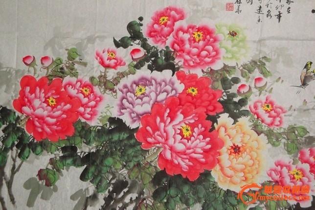 小八尺精品国画牡丹 花开富贵