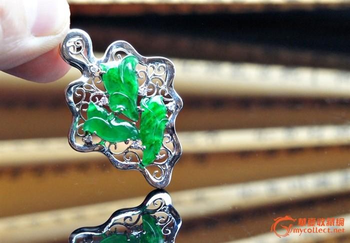 翡翠吊坠 老坑冰种浓阳满绿天然翡翠一叶发