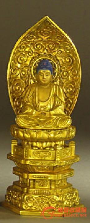 昭和时期日本金漆木雕如来佛背光法座像