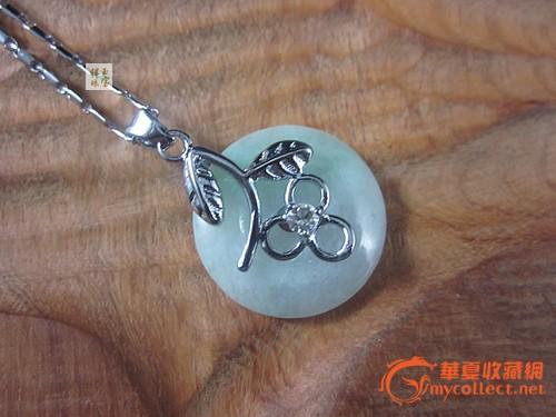 新款925纯银镶嵌天然a货翡翠平安扣 包邮 送链子