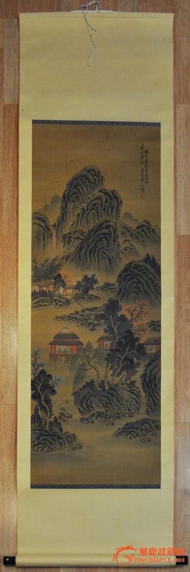 近现代画家白云手绘彩色山水画原作挂轴