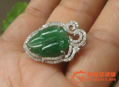 满绿翡翠a货树叶 豪华镶嵌18k白金钻石吊缀