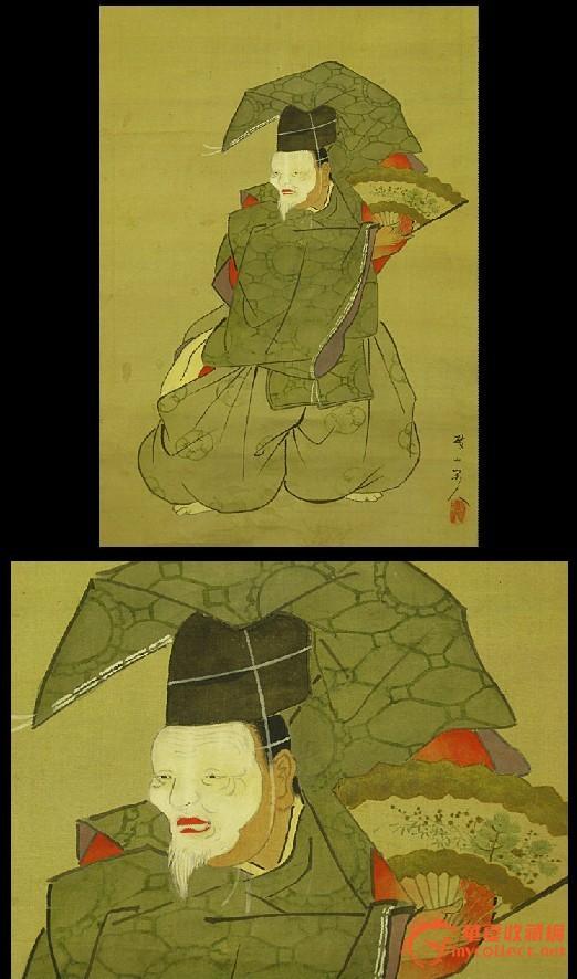 清代画家歧山人手绘人物画原作《狂言戏剧人物图》两