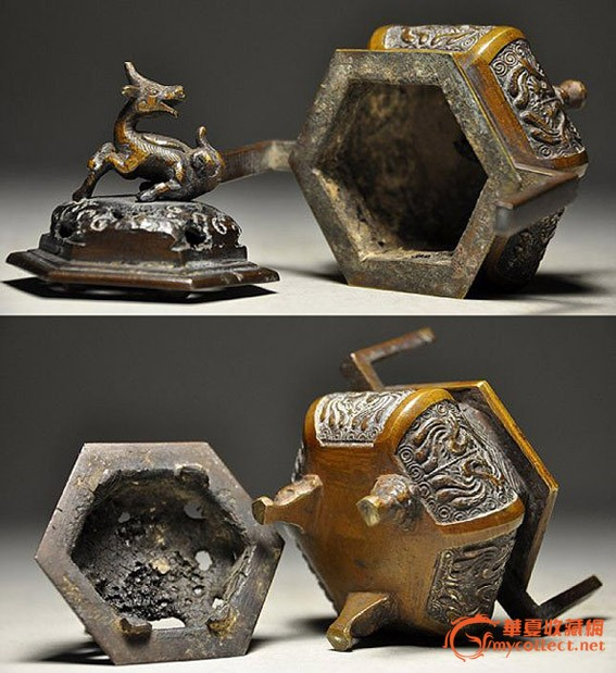 黄铜铸造麒麟造型盖凤凰纹样老香炉