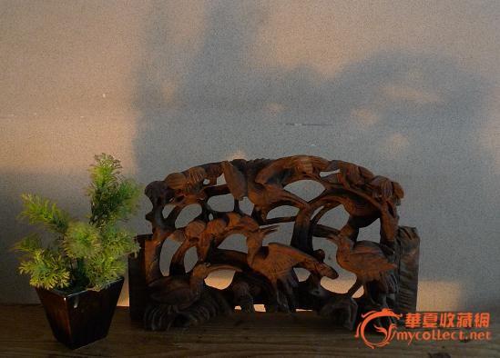 清代仙鹤木雕花板