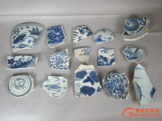 明清青花瓷动物纹饰瓷片1组