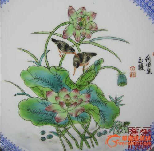 非常漂亮的手绘外贸瓷粉彩花鸟荷花盘