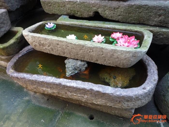 1200型1010型创意水景老石器水槽石槽台盆花缸鱼缸花槽