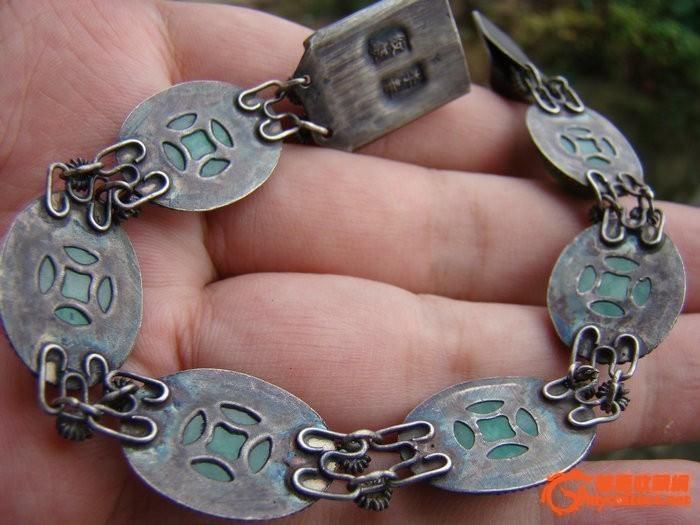 老银镶嵌老翡翠手链