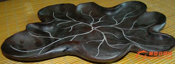 荷叶红木茶盘-图3