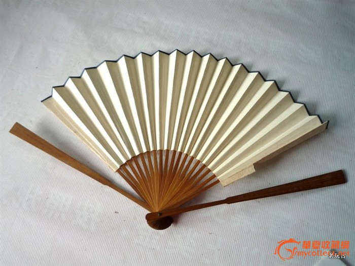 竹刻书画工艺折扇纸扇竹扇扇子根仙刻钱慧安画