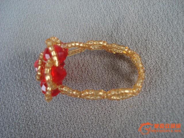 手编水晶玫瑰戒指 精美漂亮