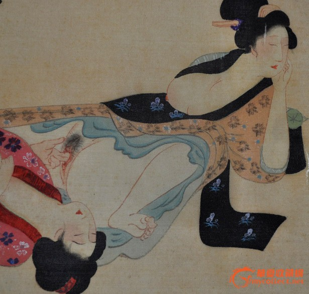 民国日本画手绘工笔浮世绘人物群像画《春宫》手卷