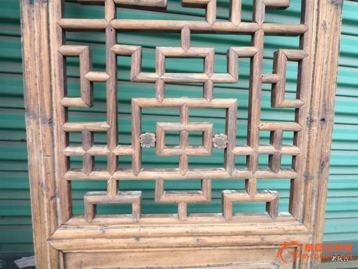 老家具 樟木门窗花窗一对 长寿龙纹木雕工艺 雕花木艺