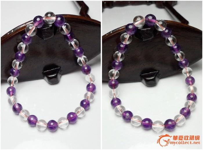 巴西进口天然aa级白水晶紫水晶浪漫双彩手链