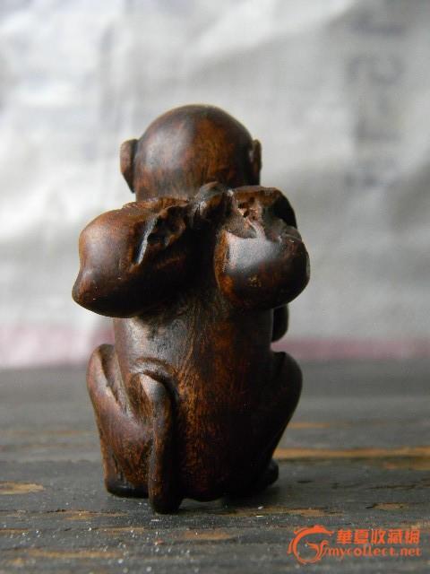 一个黄花梨木雕小猴子沉水有香微