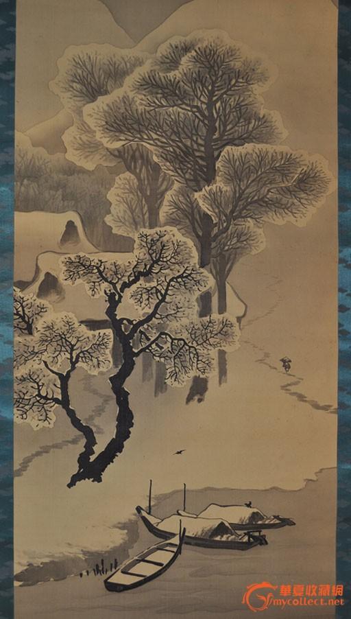 民国日本画家华外手绘水墨山水画《雪景渡舟》立轴