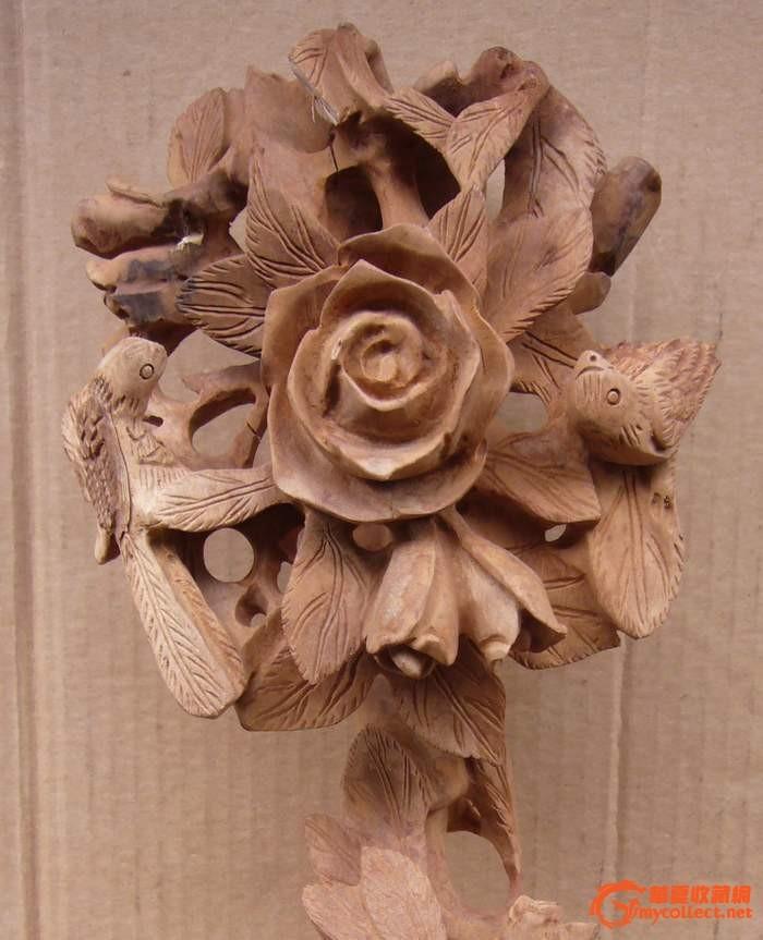 镂空花卉喜鹊纹老木雕如意