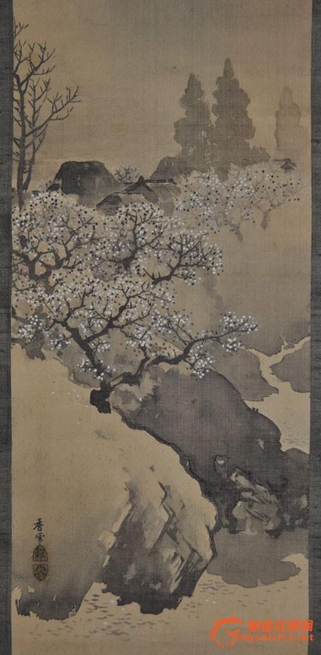民国日本画家香雪手绘水墨山水画《春景山水》立轴