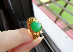 奢华满绿翡翠戒指 925金镶嵌翡翠A货戒指