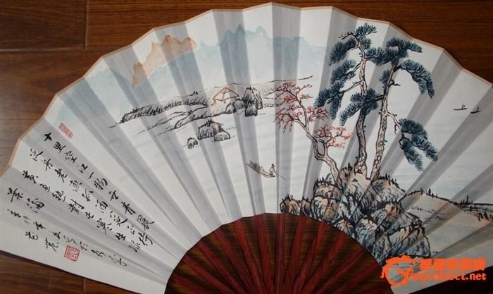 花纹极美的红酸枝折扇一把——花纹难得,画工好!