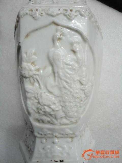 化窑白瓷刻花鸟六角花瓶